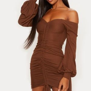 Pretty Little Thing Chocolate Brown Bodycon dress